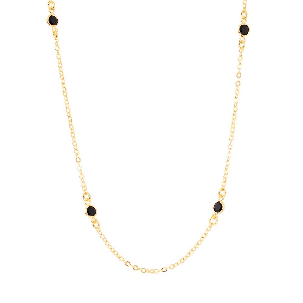 Colar Choker Tiffany com Zircônias Negras Semijoia Ouro 18K
