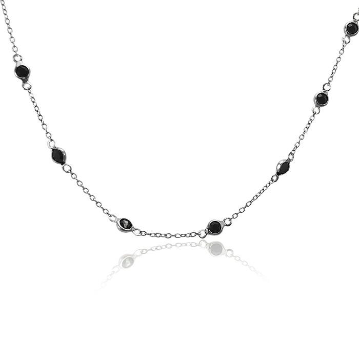 Colar Folheado Ródio Negro Choker Tiffany com Cristal Preto