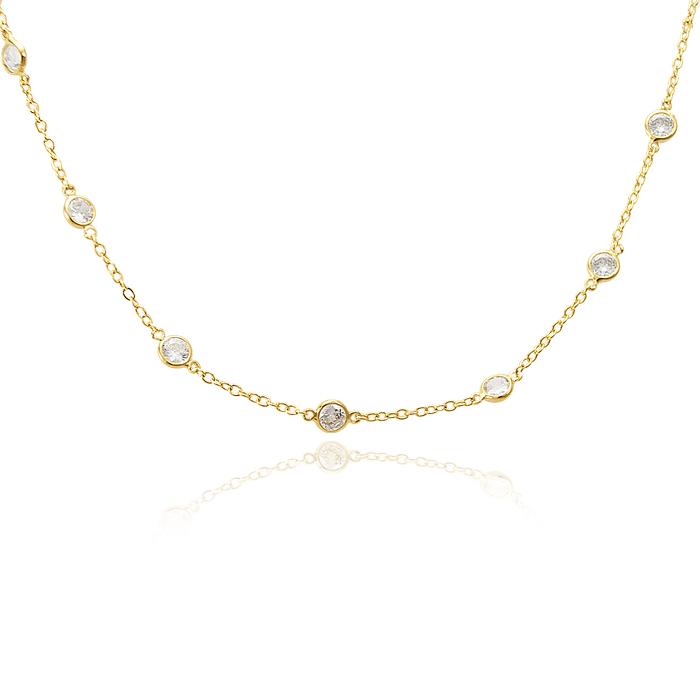 Colar Choker Tiffany Semijoia Ouro 18K
