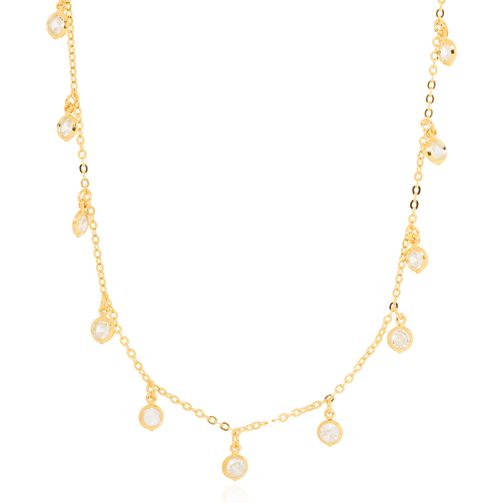 Colar Choker Tiffany Zircônia Cristal Folheado Ouro 18K
