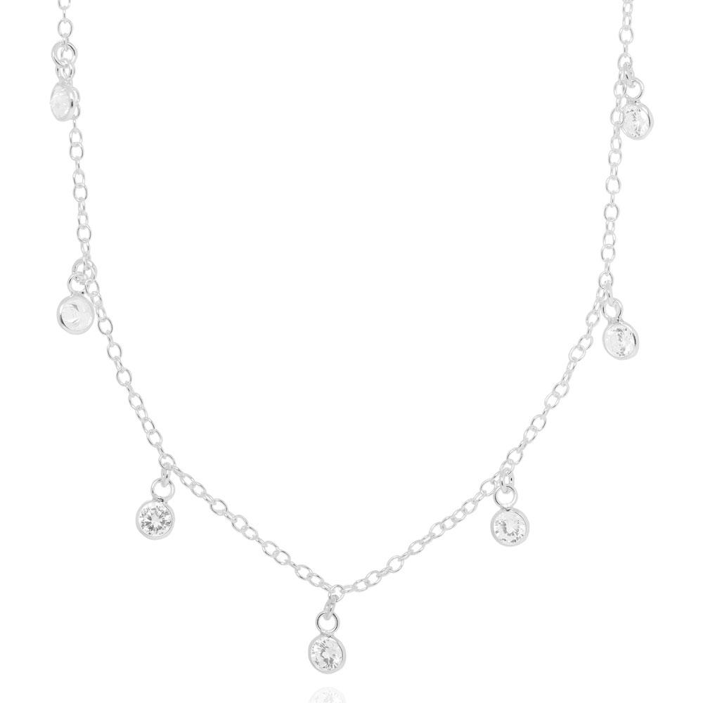 Colar Choker Tiffany Zircônias Cristais Prata 925