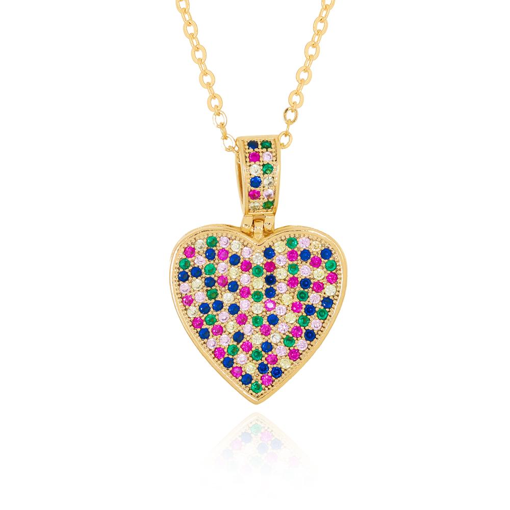 Colar com Pingente Coração em Zircônias Coloridas Semijoia Ouro 18K