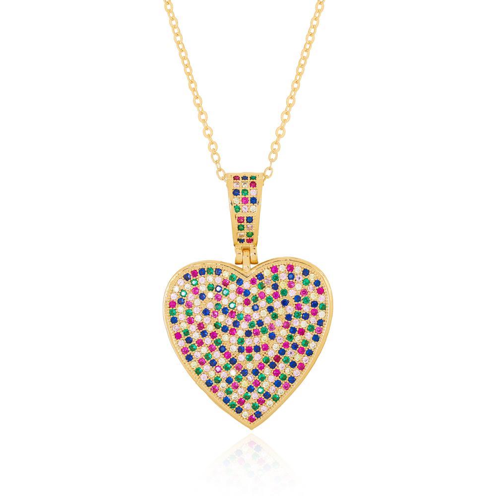 Colar com Pingente Coração Grande em Zircônias Coloridas Semijoia Ouro 18K