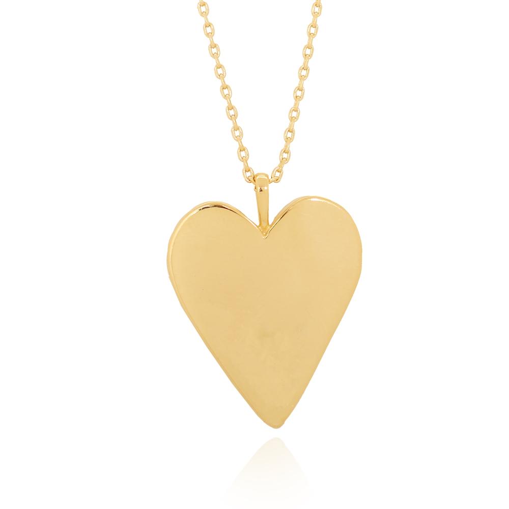 Colar com Pingente Coração Liso Alongado Semijoia Ouro 18K
