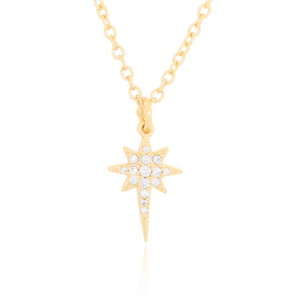 Colar com Pingente Estrela em Zircônias Semijoia Ouro 18K