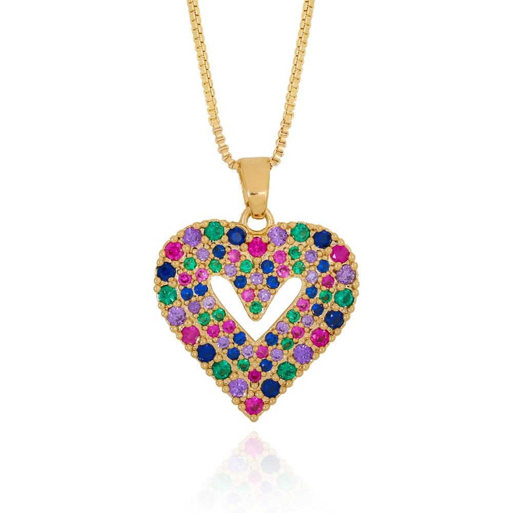 Colar Coração com Centro Vazado em Zircônias Coloridas Semijoia Ouro 18K