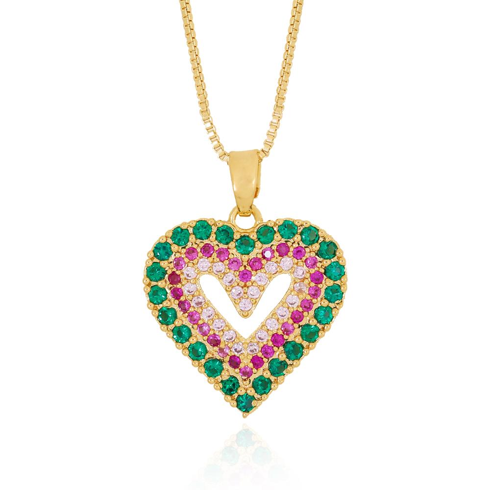 Colar Coração com Centro Vazado em Zircônias Semijoia Ouro 18K