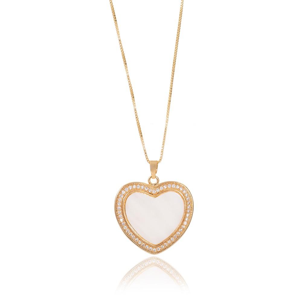 Colar Coração com Micro Zircônia Folheado Ouro 18K com Madre Pérola Central
