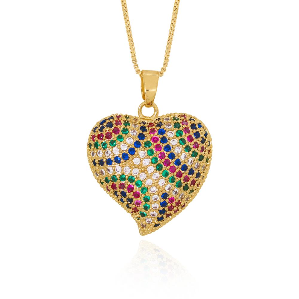Colar Coração em Zircônias Coloridas com Ponta Semijoia Ouro 18K