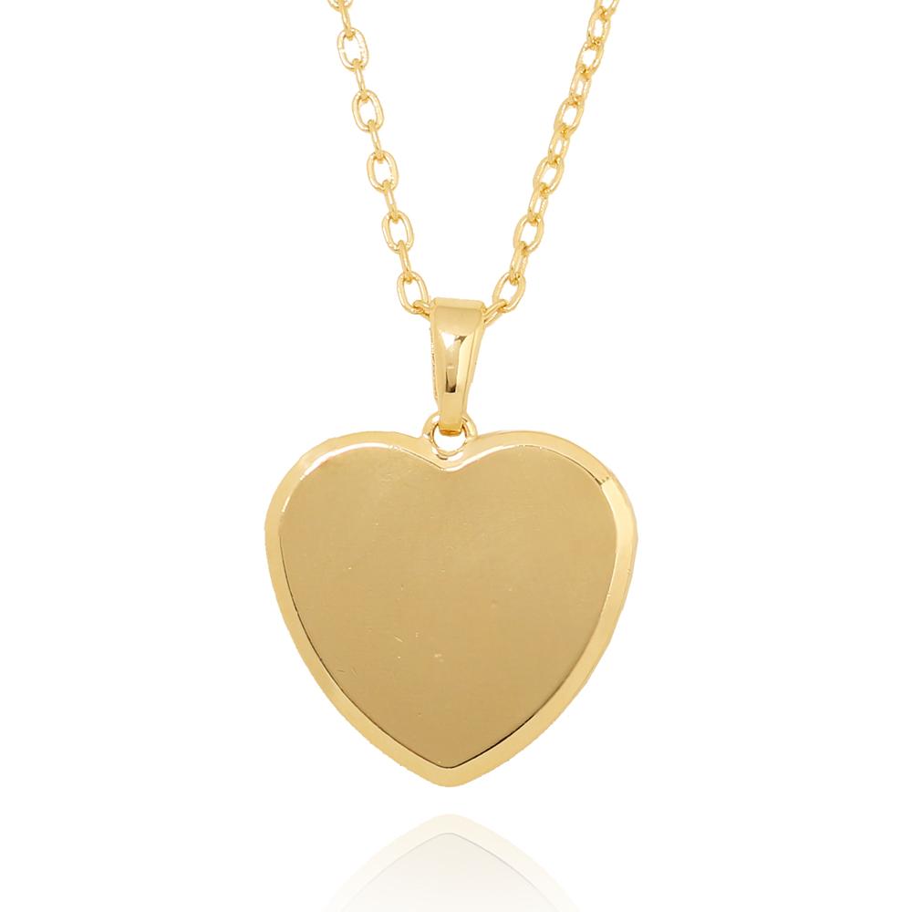 Colar Coração Liso Folheado Ouro 18K