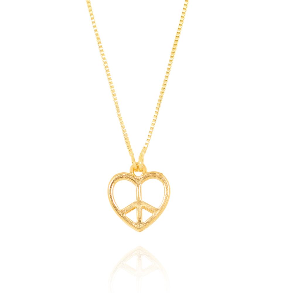 Colar Coração Simbolo Paz e Amor Folheado Ouro 18K