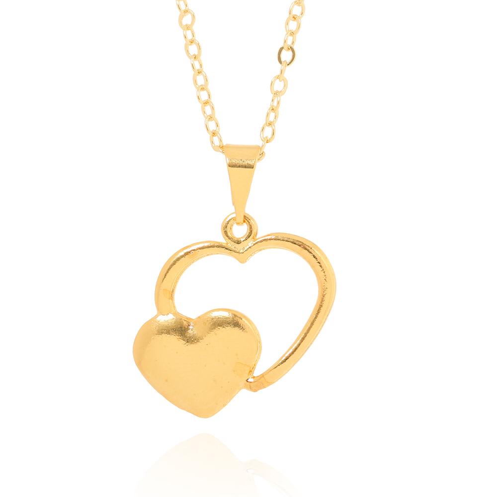 Colar Coração Vazado com Coração Liso Folheado Ouro 18K