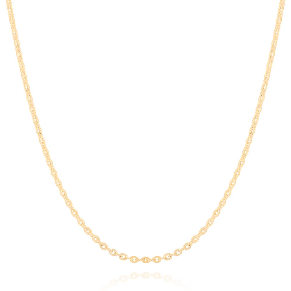 Colar Corrente Cadeadinho Diamantada Semijoia Ouro 18K