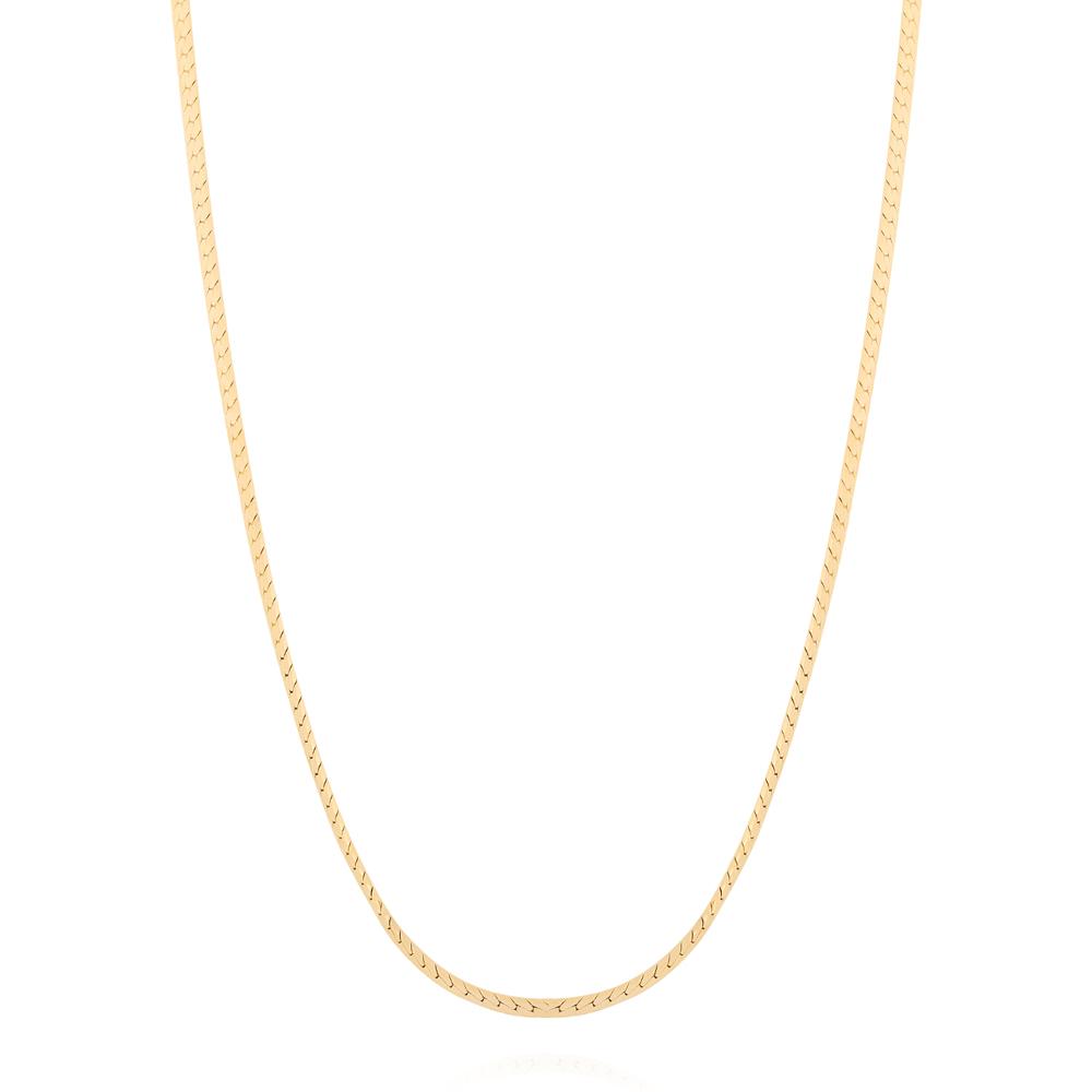 Colar Corrente Trançada Diamantada Semijoia Ouro 18K