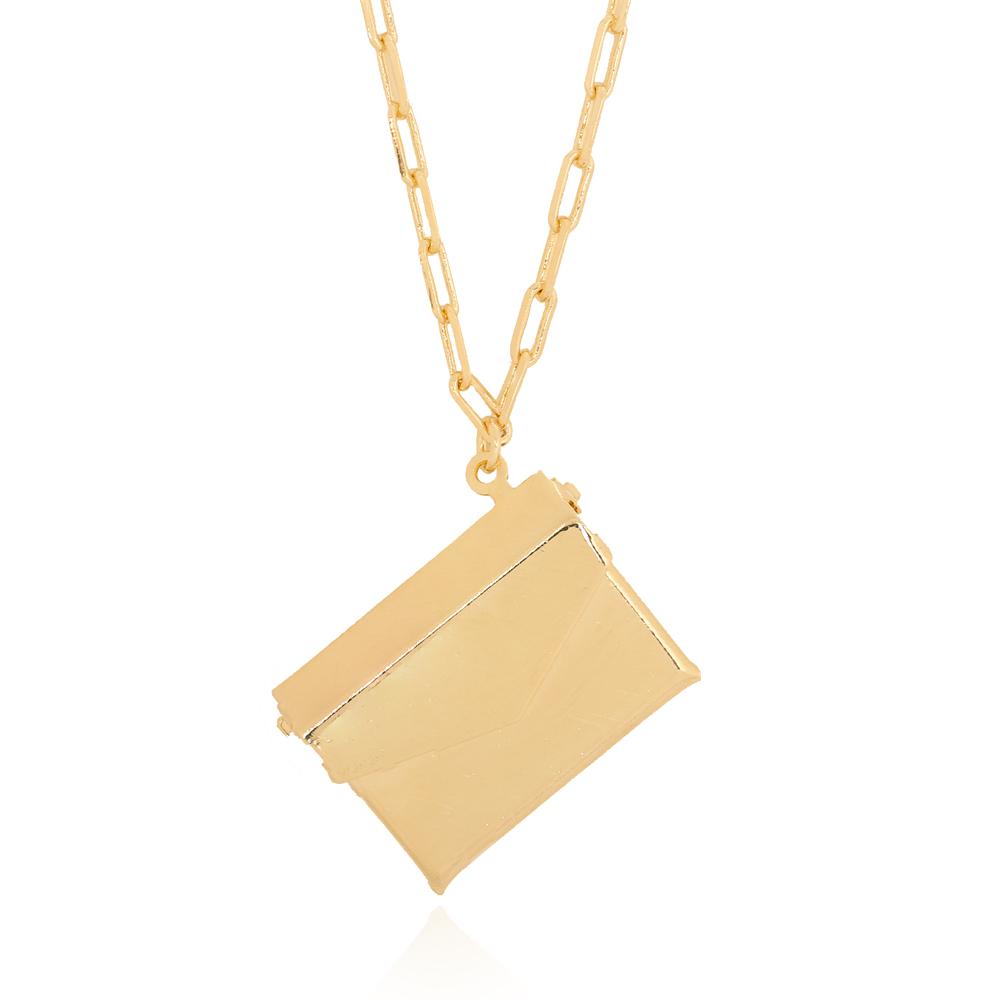 Colar Envelope Semijoia Ouro 18K