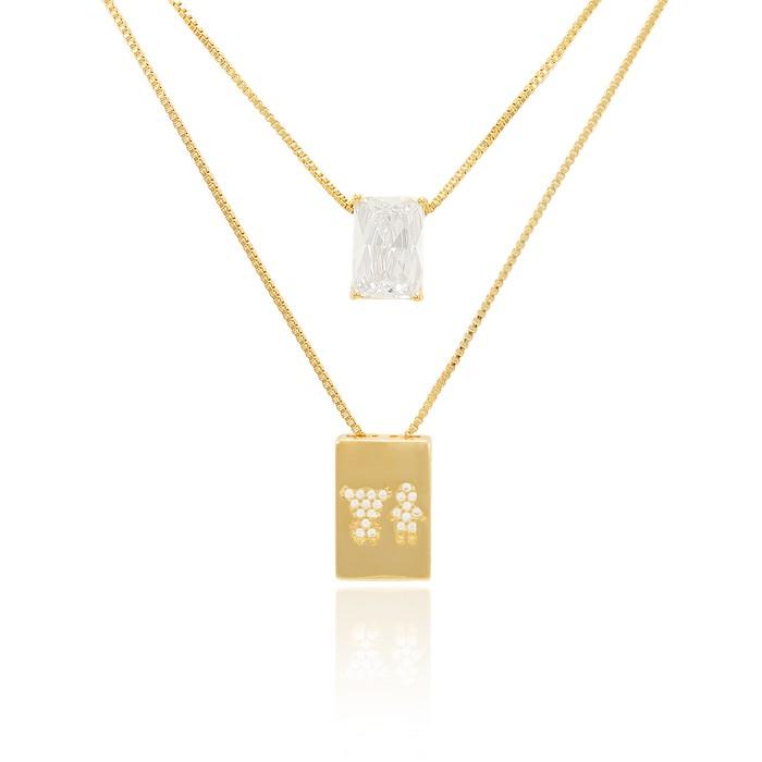 Colar Escapulário Folheado Ouro 18K Casal Menino e Menina Micro Zircônia Cristal