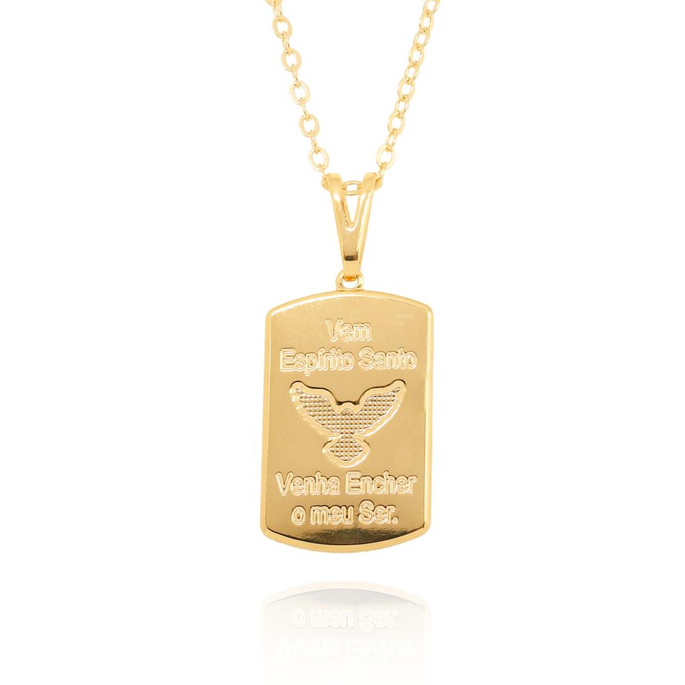 Colar Espírito Santo com Frase Folheado Ouro 18K