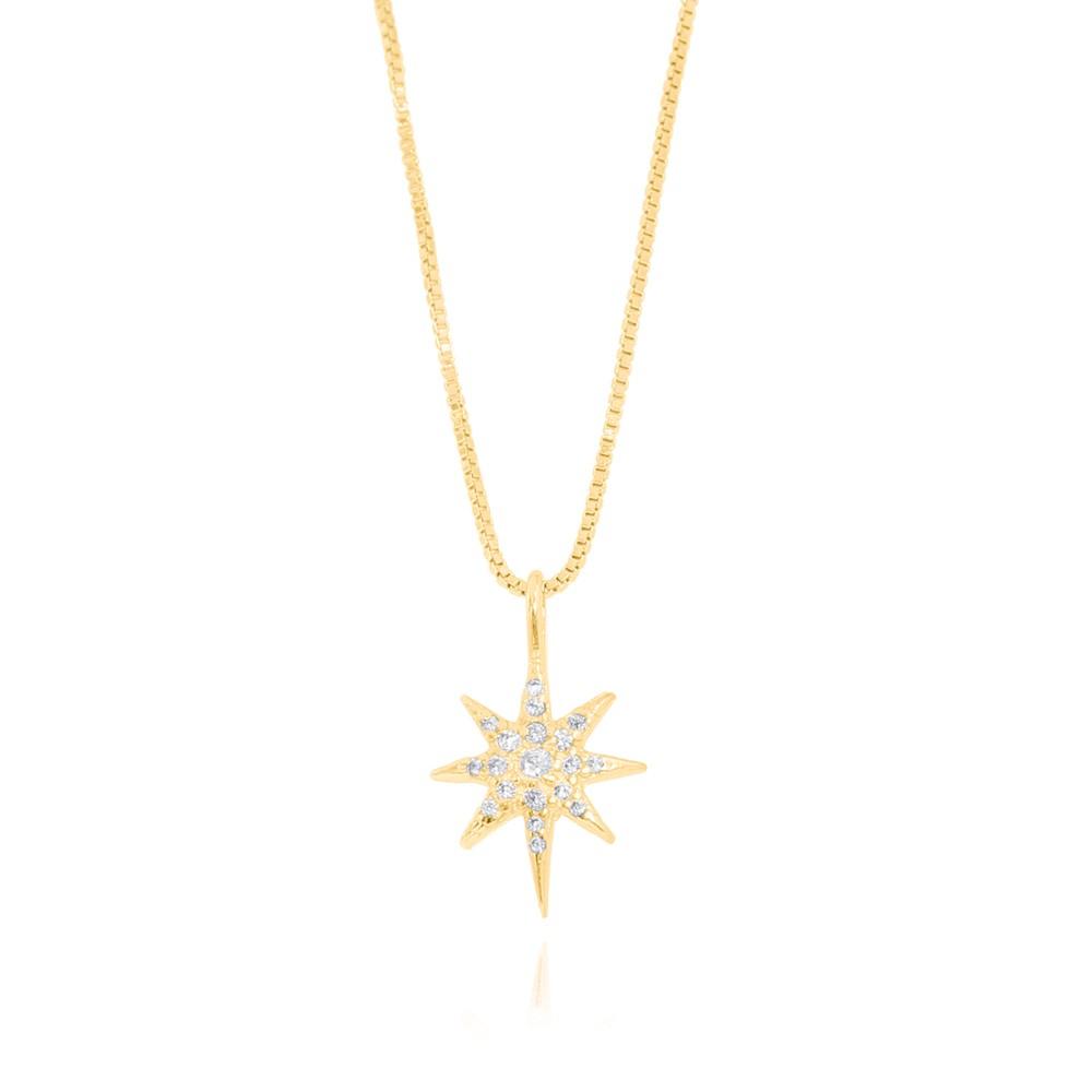 Colar Estrela Oito Pontas Folheado Ouro 18K com Micro Zircônia