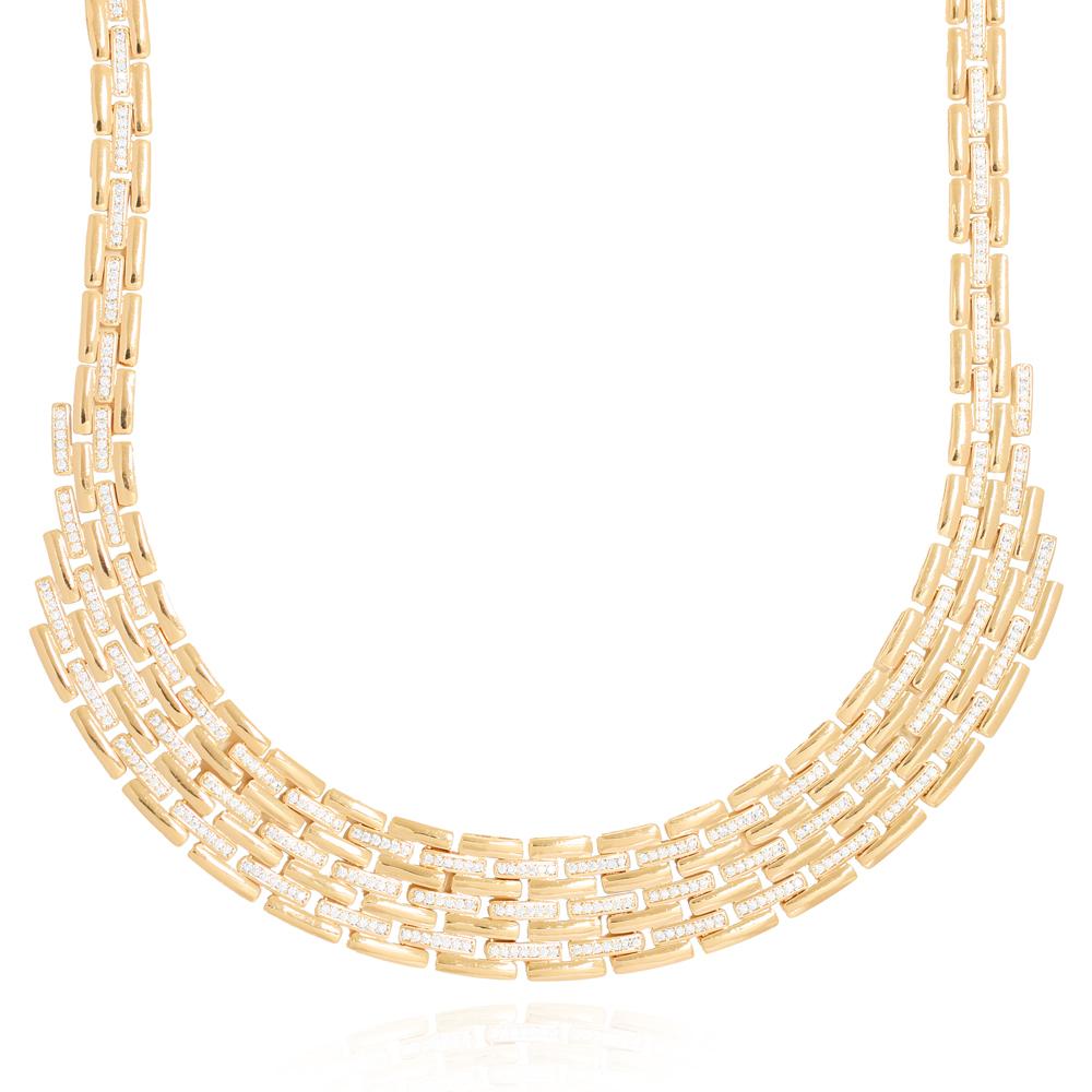 Colar Fileira de Retângulos Lisos e com Zircônias Semijoia Ouro 18K Champagne