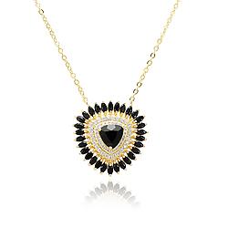 Colar Folheado Ouro 18K com Cristal Negro Triangular
