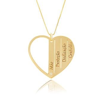 Colar Folheado Ouro 18K Coração Mãe Inspired Adria