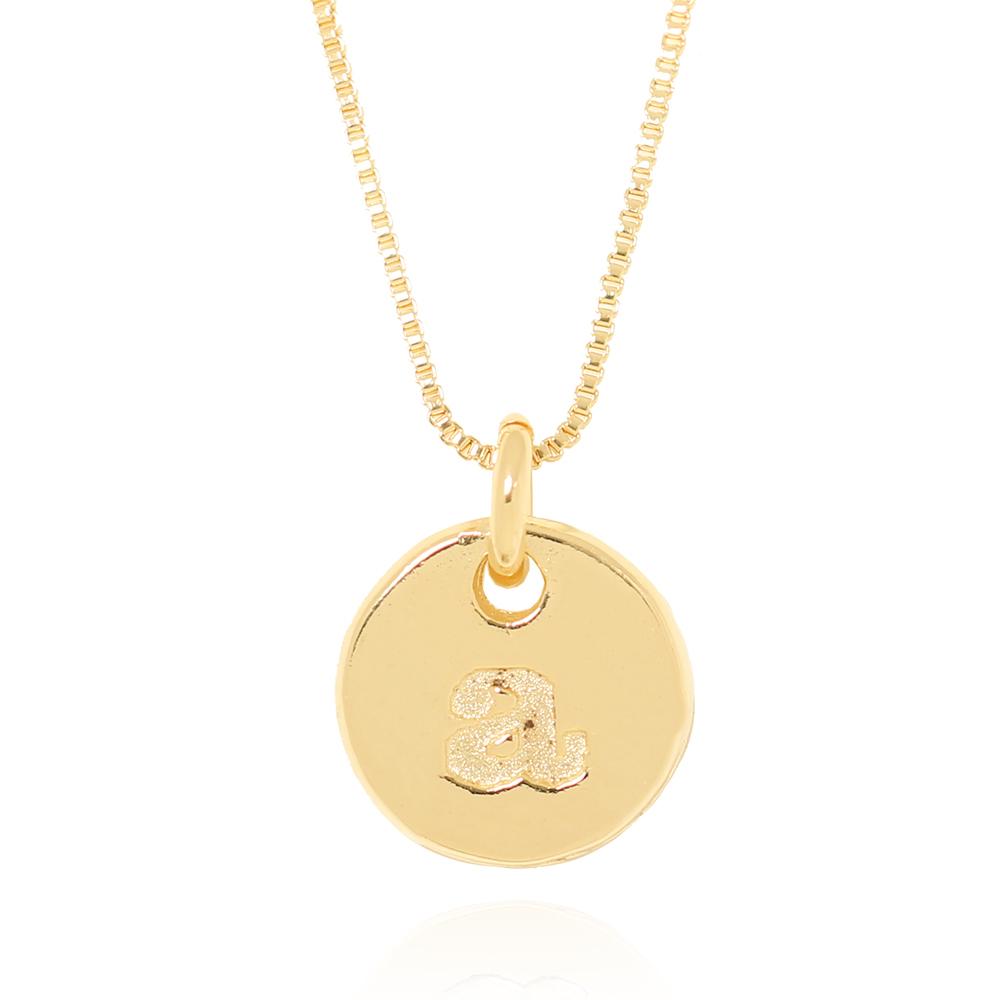 Colar Folheado Ouro 18K  Medalha com Letra
