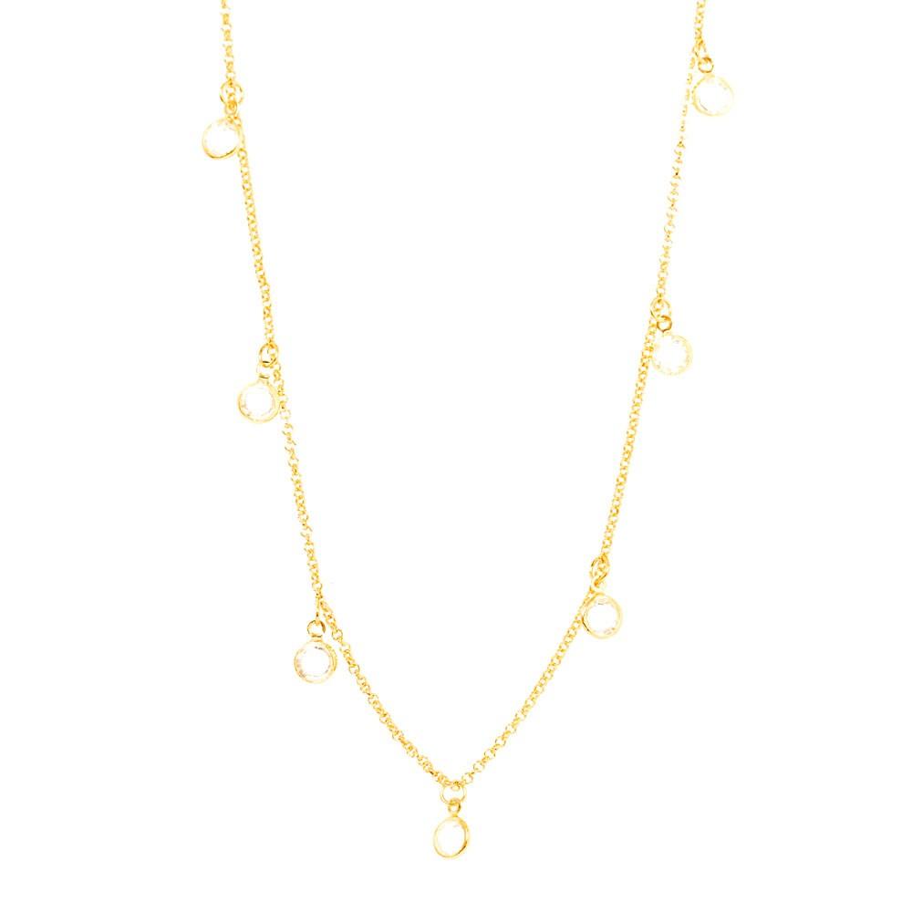 Colar Folheado Ouro 18K Tiffany Cristal