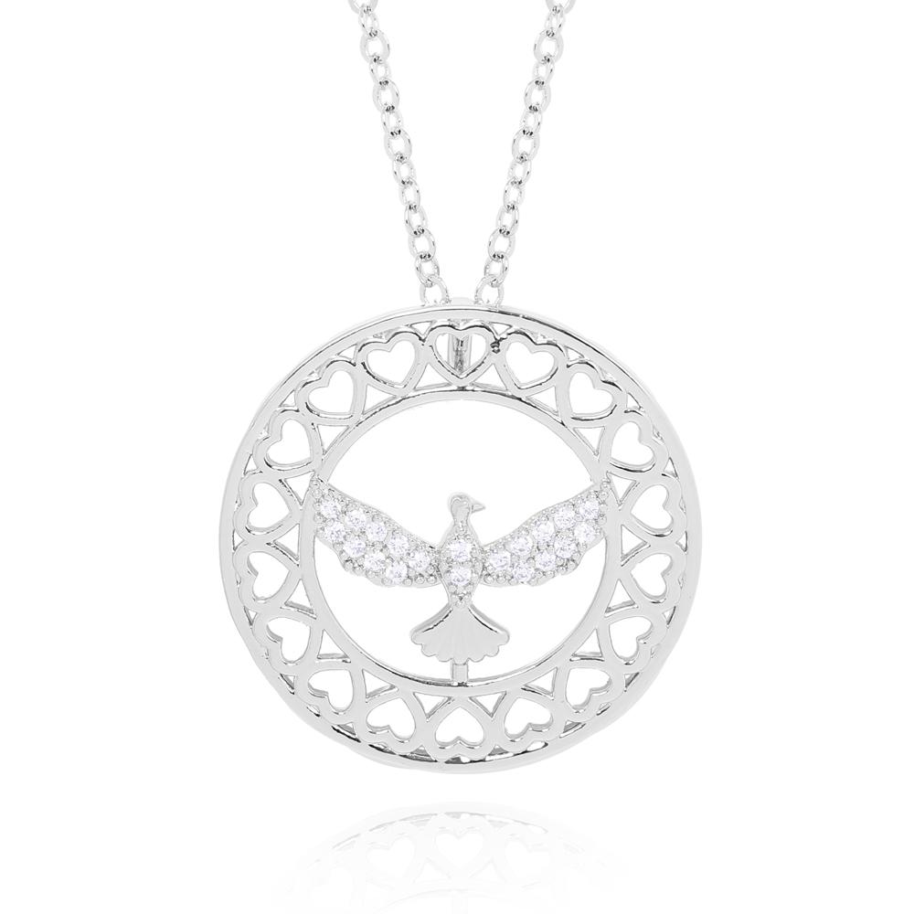 Colar Folheado Ródio Mandala Espírito Santo com Micro Zircônia Coração com Detalhes