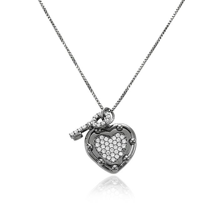 Colar Folheado Ródio Negro Coração com Chave Micro Zircônia