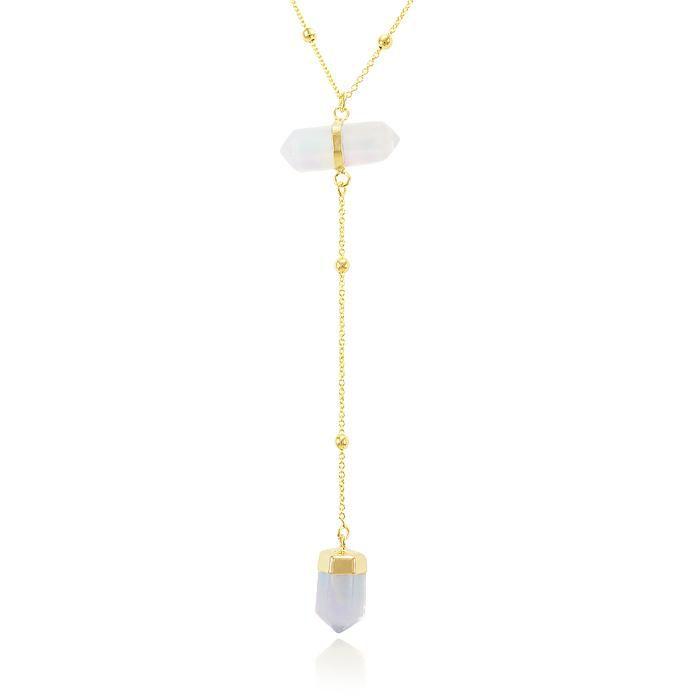 Colar Gravata Coleção Rústica Folheado Ouro 18K Pedra Natural Pedra da Lua