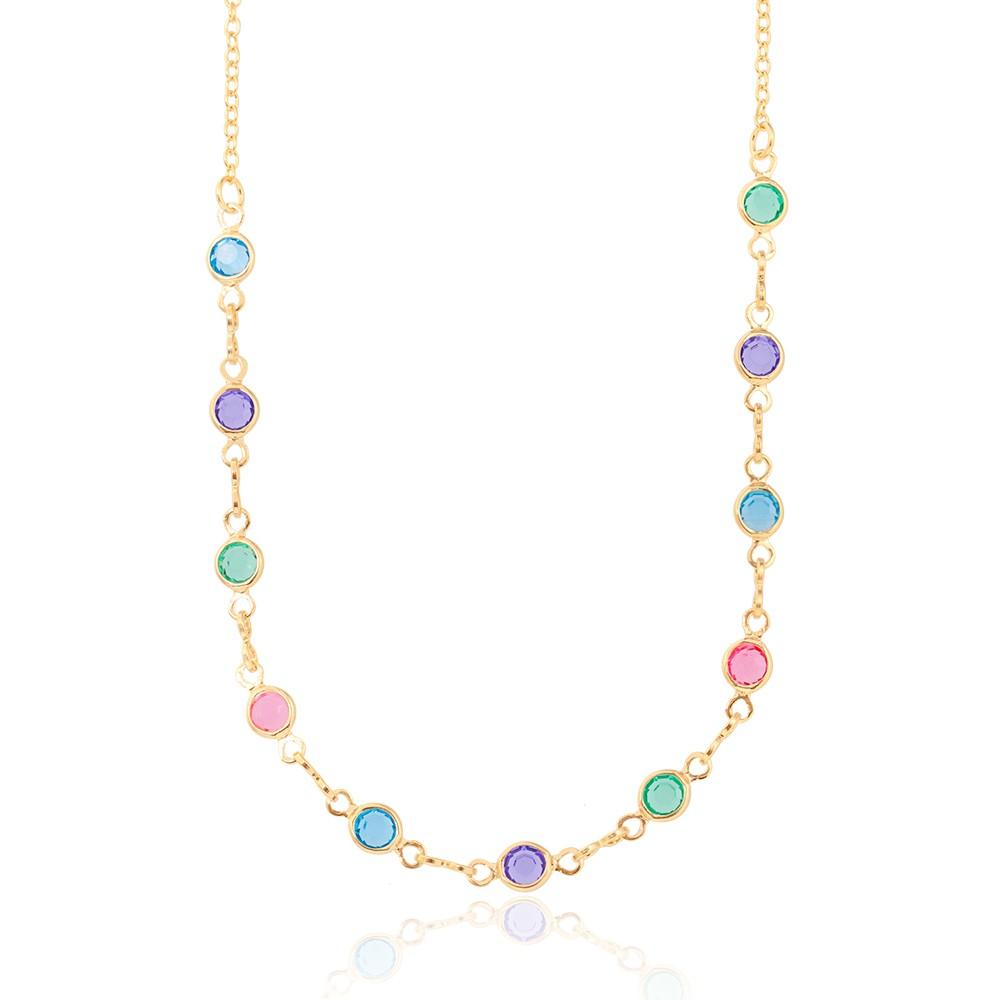 Colar Infantil Folheado Ouro 18K Tiffany Colorido