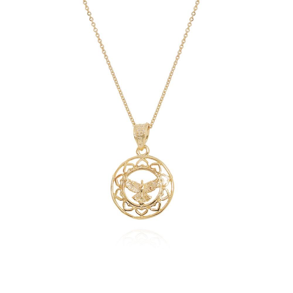 Colar Mandala Espírito Santo Folheado Ródio com Micro Zircônia com Detalhes Coração