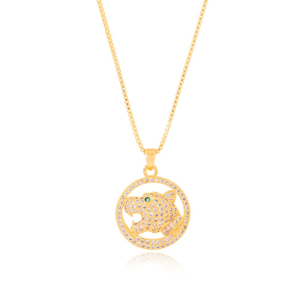 Colar Mandala Folheado Ouro 18K com Cabeça de Tigre com Micro Zircônia