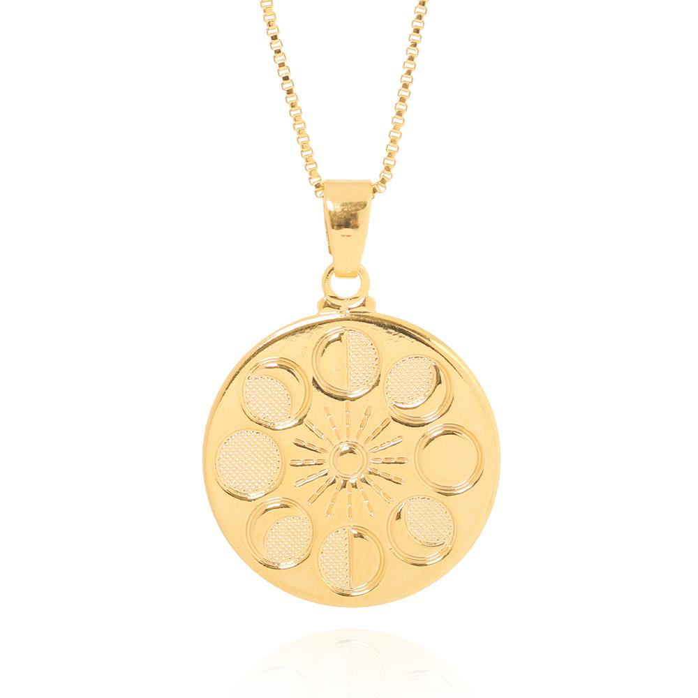 Colar Medalha Fases Lua Folheado Ouro 18K