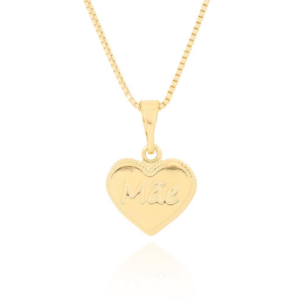 Colar Medalha Folheado Ouro 18K Coração Escrito Mãe