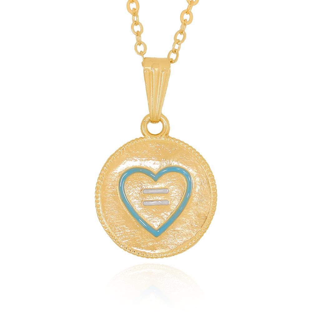 Colar Medalha Lisa com Contorno Coração Azul Semijoia Ouro 18K
