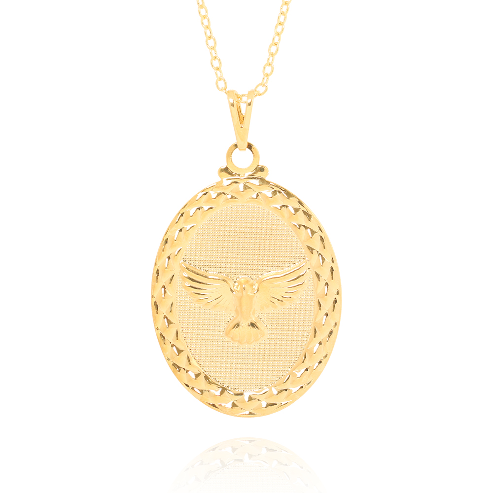 Colar Medalha Oval Espírito Santo Folheado Ouro 18K