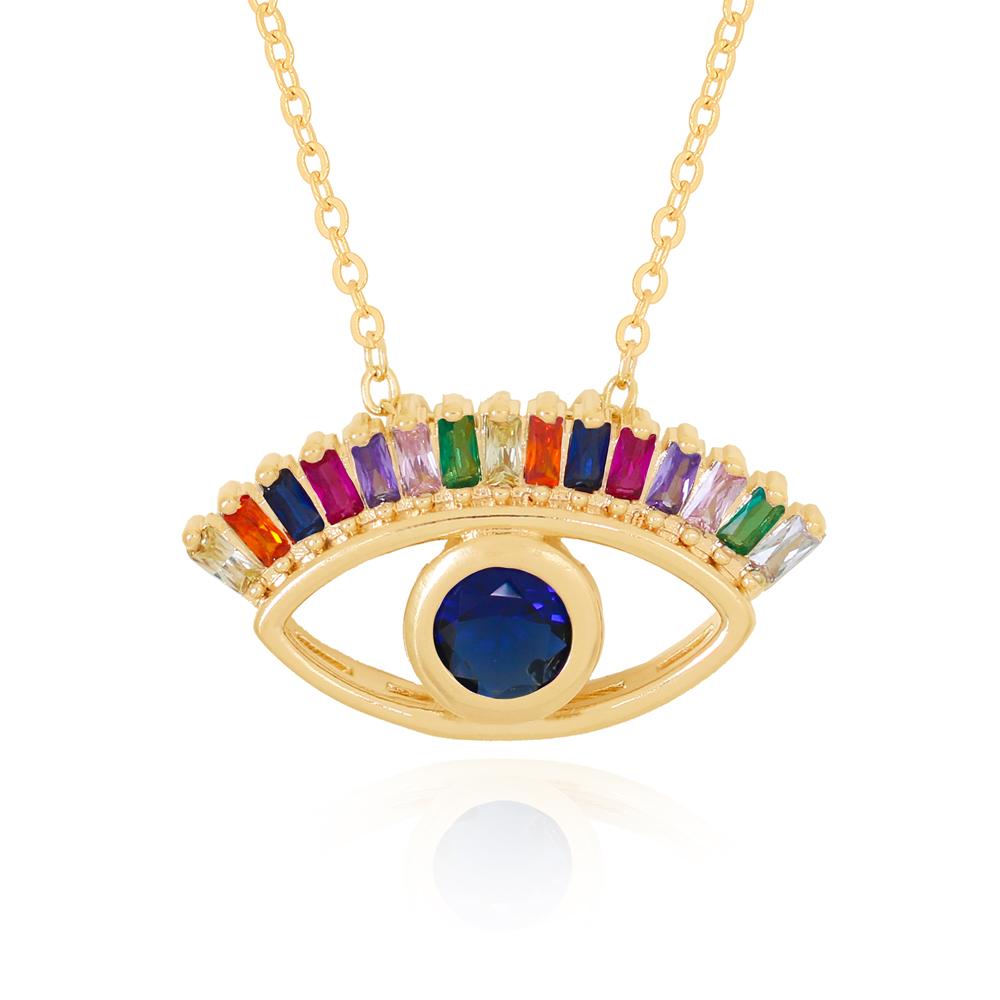 Colar Olho com Zircônia Central Azul e Coloridas em Volta  Semijoia Ouro 18K