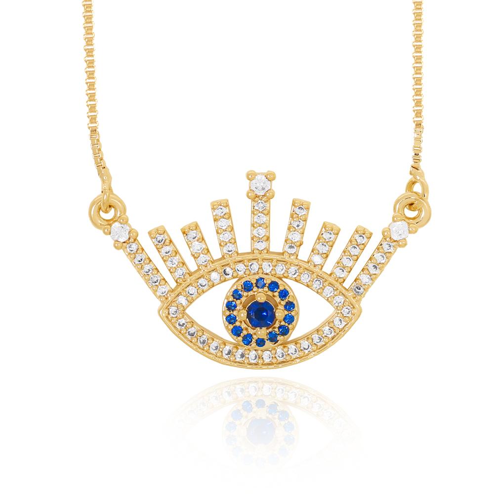 Colar Olho Zircônia Azul e Cristal Semijoia Ouro 18K