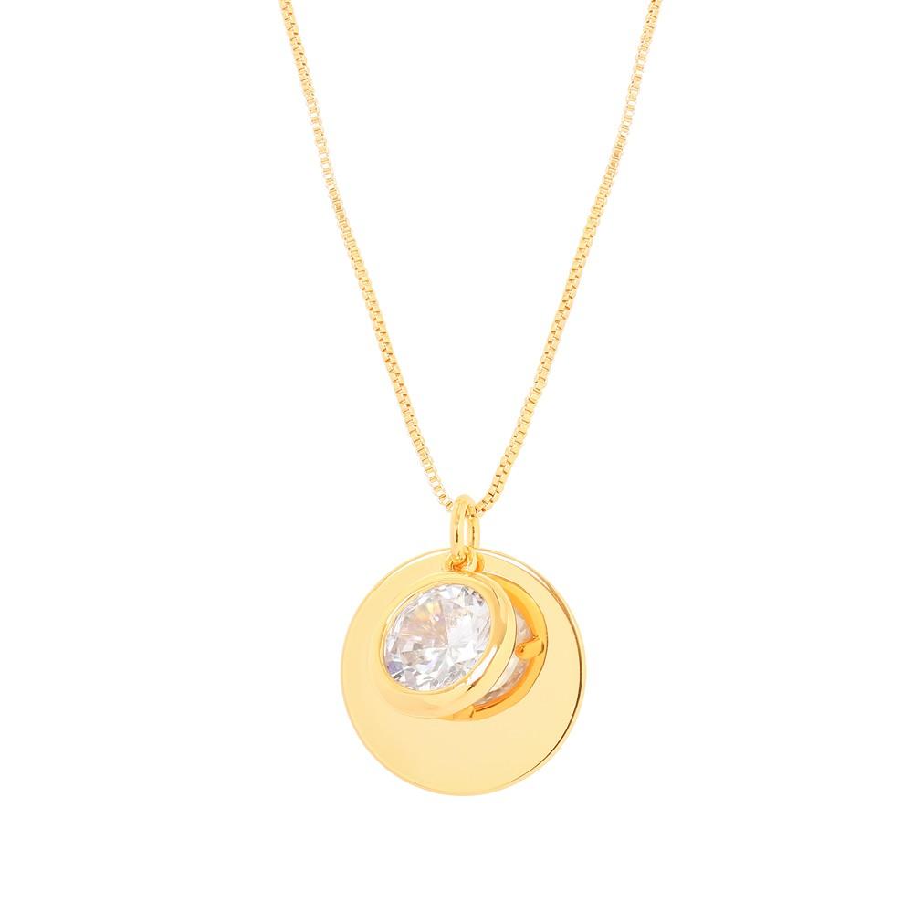 Colar Patuá com Pingente Folheado Ouro 18K Pedra Cristal