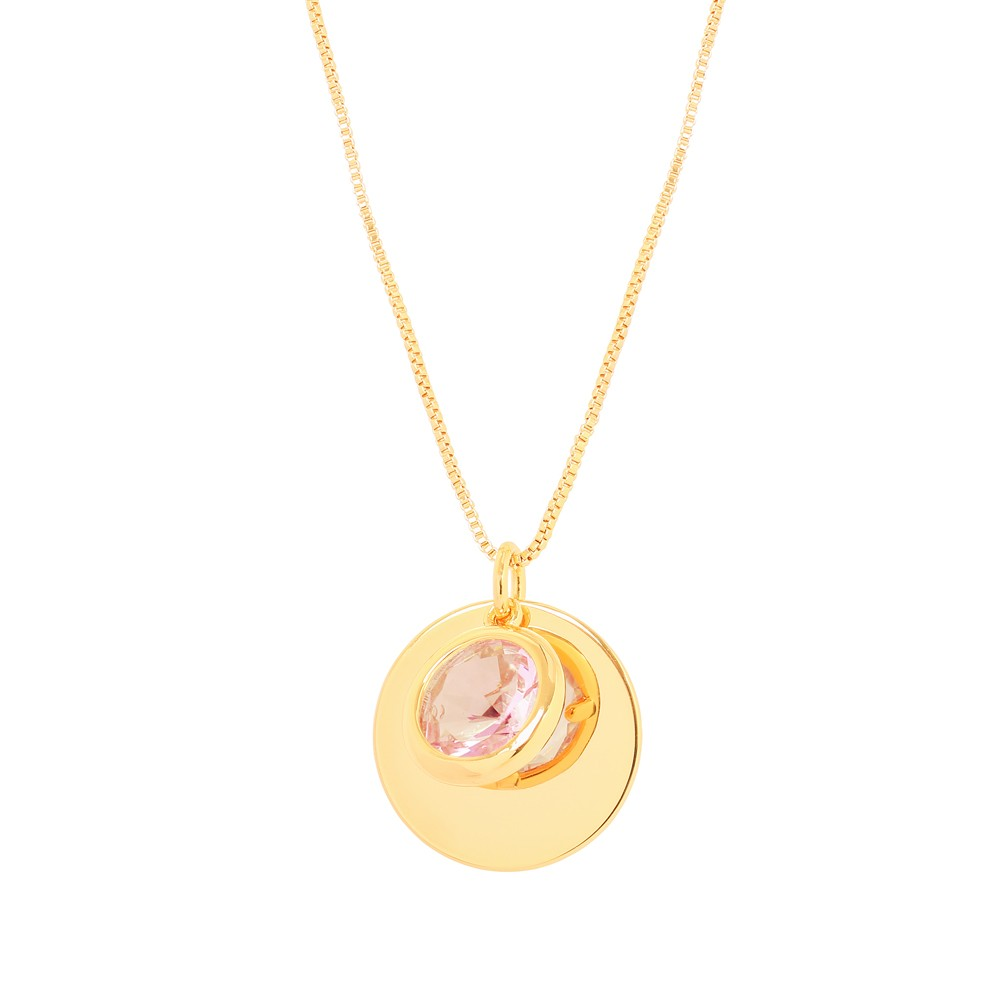 Colar Patuá com Pingente Folheado Ouro 18K Pedra Cristal Rosa