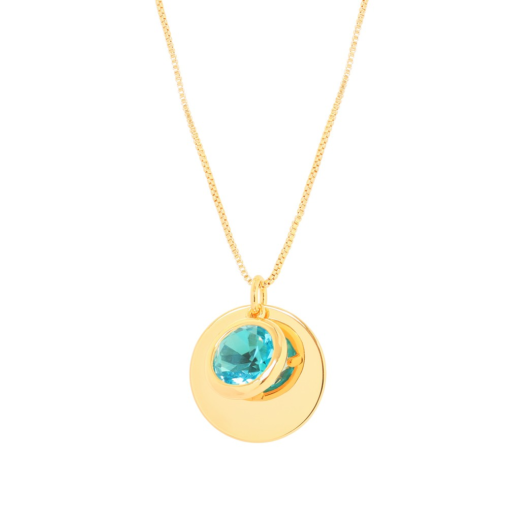 Colar Patuá com Pingente Pedra Cristal Aquamarine Folheado Ouro 18K