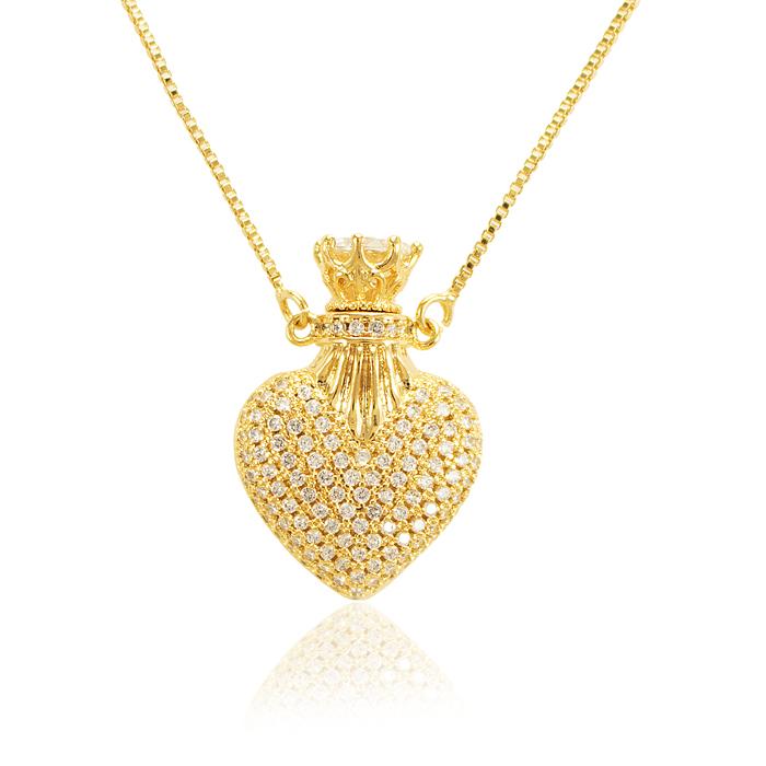 Colar Perfumeiro Folheado Ouro 18K Coração