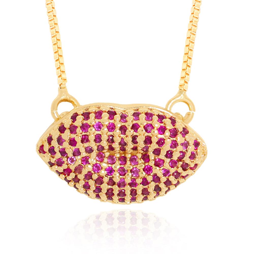 Colar Pingente Boca em Zircônias Pink Semijoia Ouro 18K