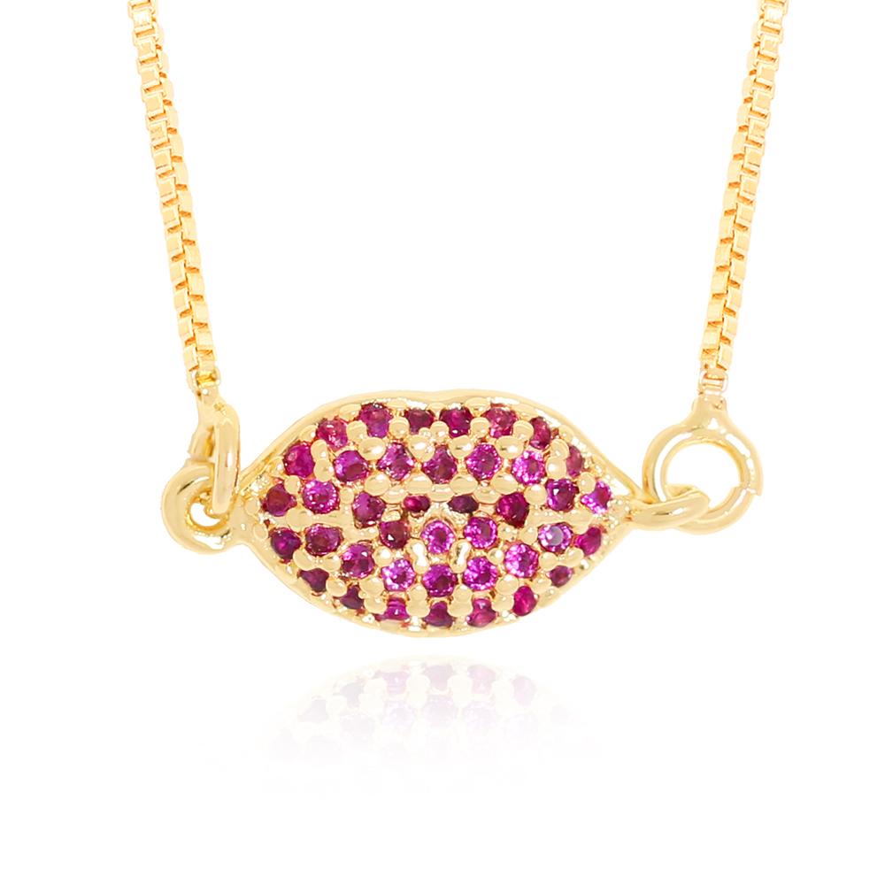 Colar Pingente Boca Pequena de Zircônias Pink Semijoia Ouro 18K