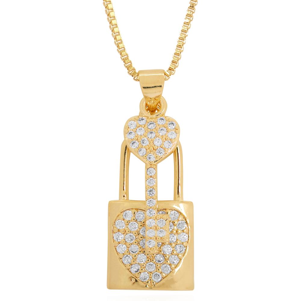 Colar Pingente Cadeado com Coração e Chave em Zircônias Semijoia Ouro 18K