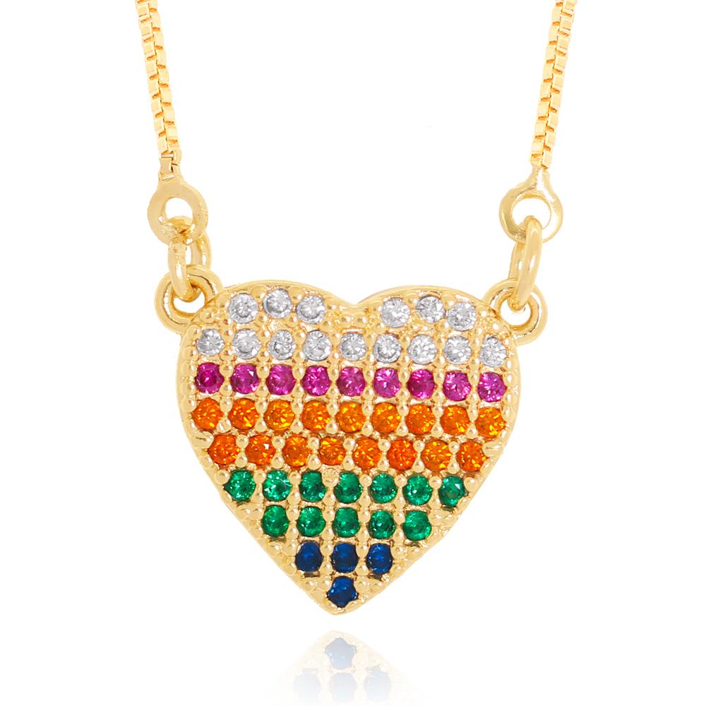 Colar Pingente Coração de Zircônias Coloridas Variadas Semijoia Ouro 18K