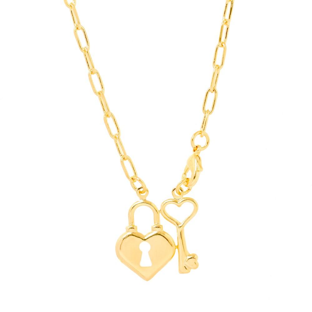 Colar Pingente Folheado Ouro 18K Cadeado de Coração e Chave