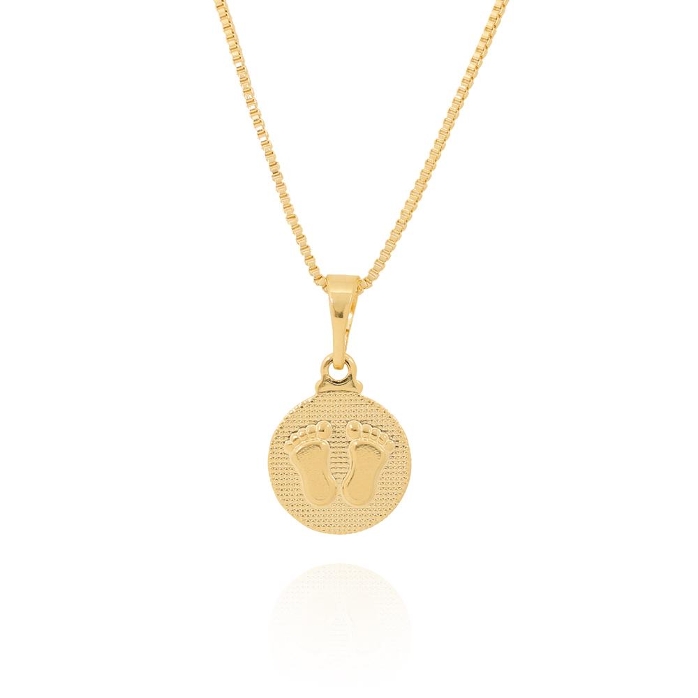 Colar Pingente Medalha com Pézinhos Folheado Ouro 18K