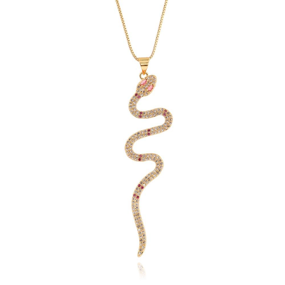 Colar Pingente Snake Folheado Ouro 18K com Micro Zircônia Pink Grande